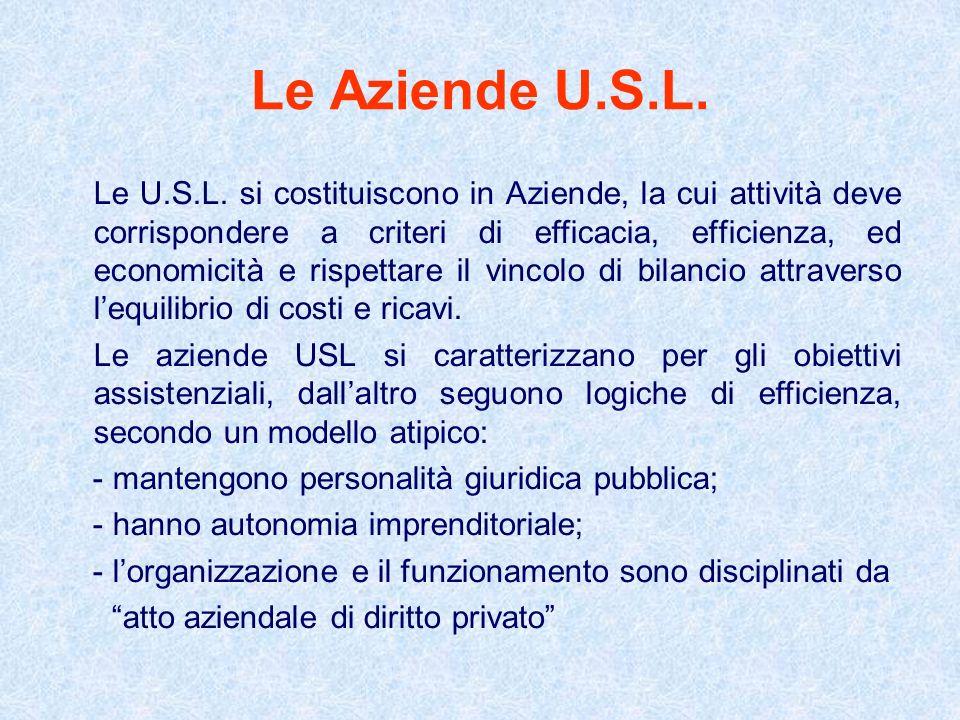 Le Aziende U.S.L. Le U.S.L. si costituiscono in Aziende, la cui attività deve corrispondere a criteri di efficacia, efficienza, ed economicità e rispe
