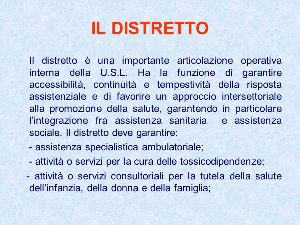 IL DISTRETTO Il distretto è una importante articolazione operativa interna della U.S.L. Ha la funzione di garantire accessibilità, continuità e tempes