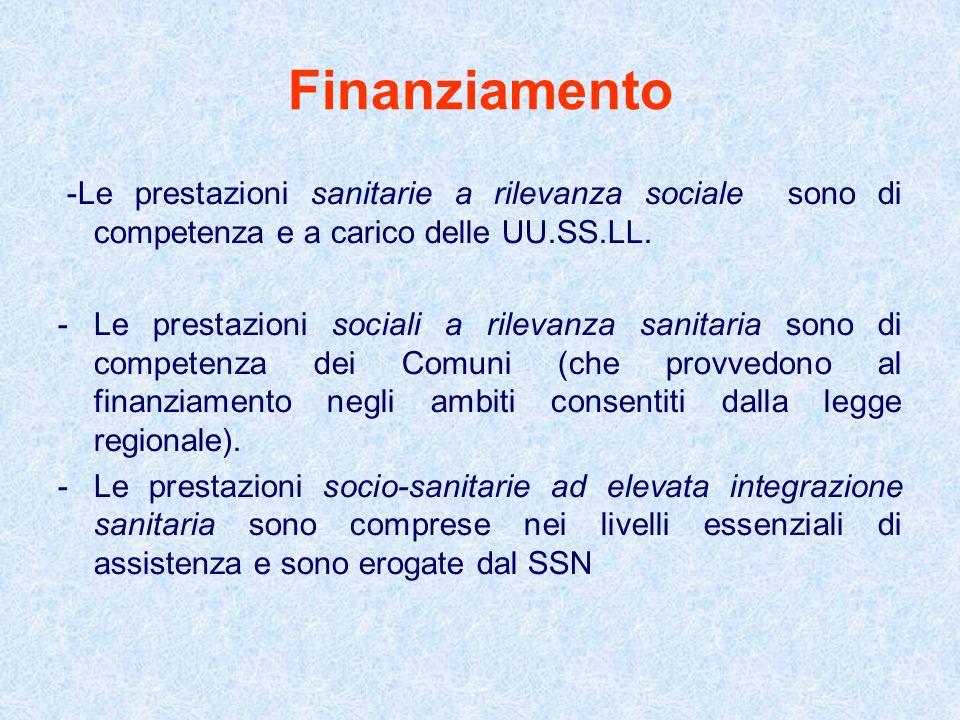 Finanziamento -Le prestazioni sanitarie a rilevanza sociale sono di competenza e a carico delle UU.SS.LL. -Le prestazioni sociali a rilevanza sanitari