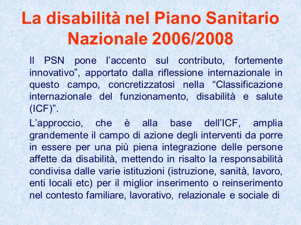 La disabilità nel Piano Sanitario Nazionale 2006/2008 Il PSN pone laccento sul contributo, fortemente innovativo, apportato dalla riflessione internaz