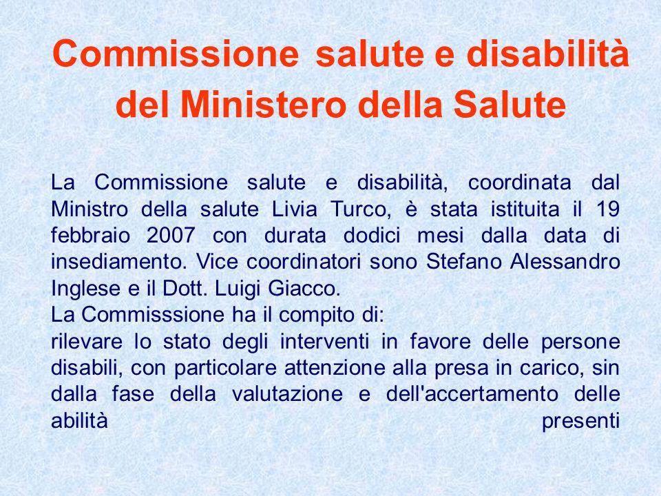 Commissione salute e disabilità del Ministero della Salute La Commissione salute e disabilità, coordinata dal Ministro della salute Livia Turco, è sta