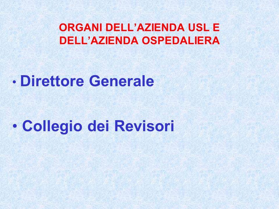 ORGANI DELLAZIENDA USL E DELLAZIENDA OSPEDALIERA Direttore Generale Collegio dei Revisori
