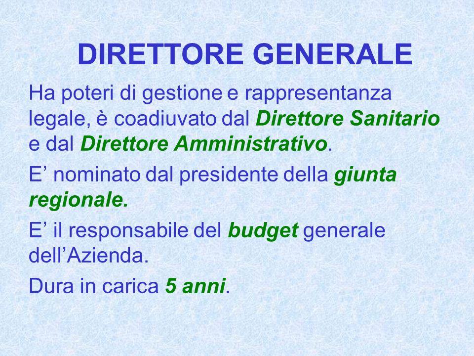 DIRETTORE GENERALE Ha poteri di gestione e rappresentanza legale, è coadiuvato dal Direttore Sanitario e dal Direttore Amministrativo. E nominato dal