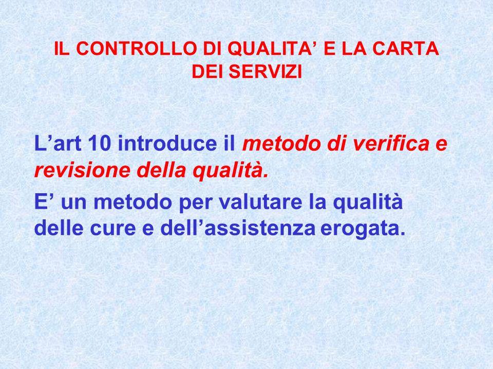 IL CONTROLLO DI QUALITA E LA CARTA DEI SERVIZI Lart 10 introduce il metodo di verifica e revisione della qualità. E un metodo per valutare la qualità