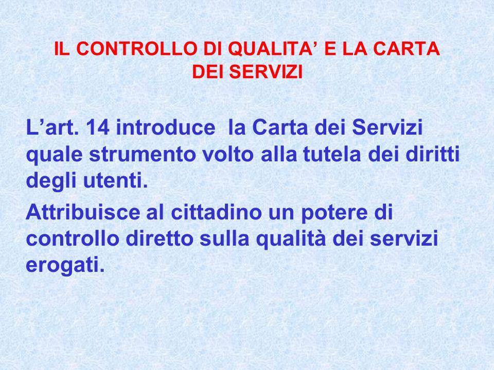IL CONTROLLO DI QUALITA E LA CARTA DEI SERVIZI Lart. 14 introduce la Carta dei Servizi quale strumento volto alla tutela dei diritti degli utenti. Att