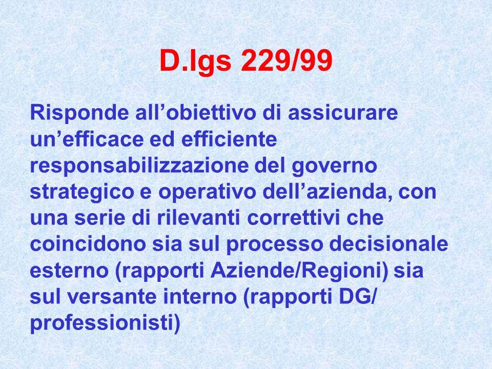 D.lgs 229/99 Risponde allobiettivo di assicurare unefficace ed efficiente responsabilizzazione del governo strategico e operativo dellazienda, con una