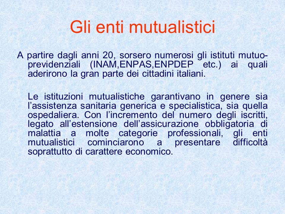 Gli enti mutualistici A partire dagli anni 20, sorsero numerosi gli istituti mutuo- previdenziali (INAM,ENPAS,ENPDEP etc.) ai quali aderirono la gran