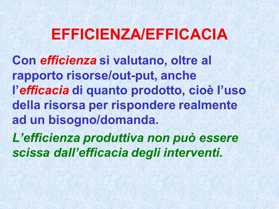 EFFICIENZA/EFFICACIA Con efficienza si valutano, oltre al rapporto risorse/out-put, anche lefficacia di quanto prodotto, cioè luso della risorsa per r