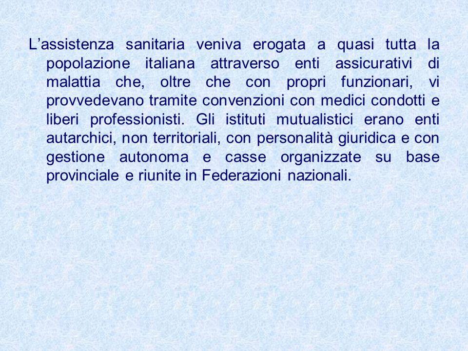 Lassistenza sanitaria veniva erogata a quasi tutta la popolazione italiana attraverso enti assicurativi di malattia che, oltre che con propri funziona
