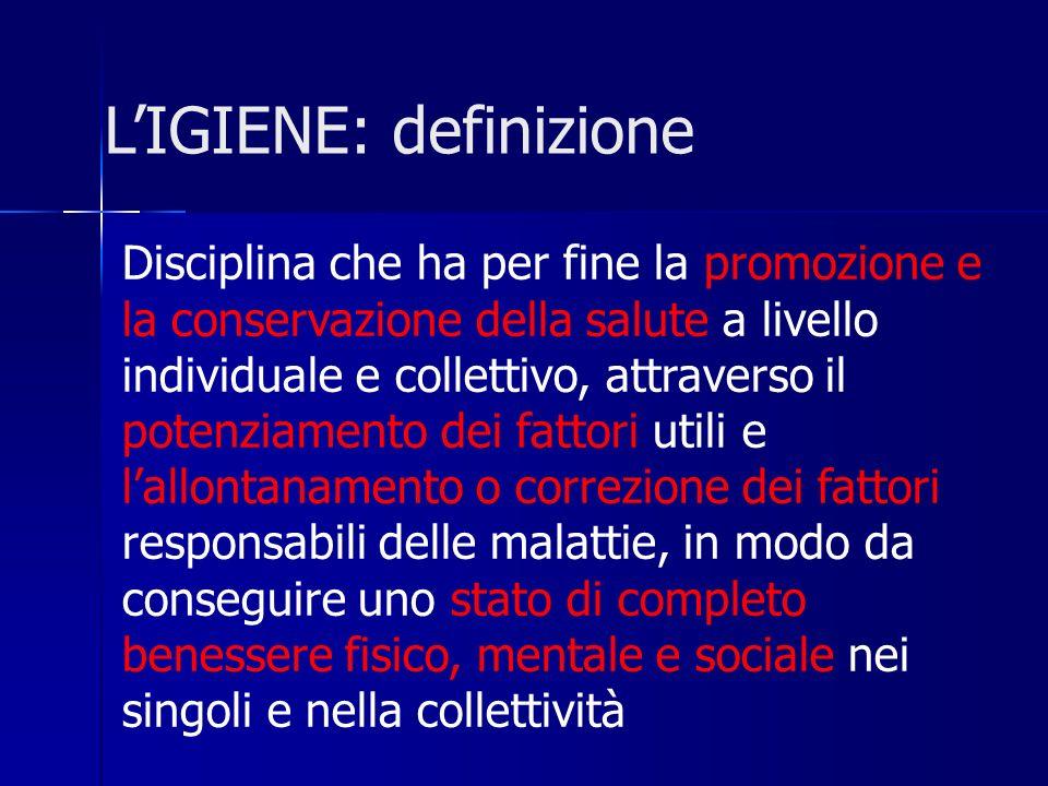 LIGIENE: definizione Disciplina che ha per fine la promozione e la conservazione della salute a livello individuale e collettivo, attraverso il potenz