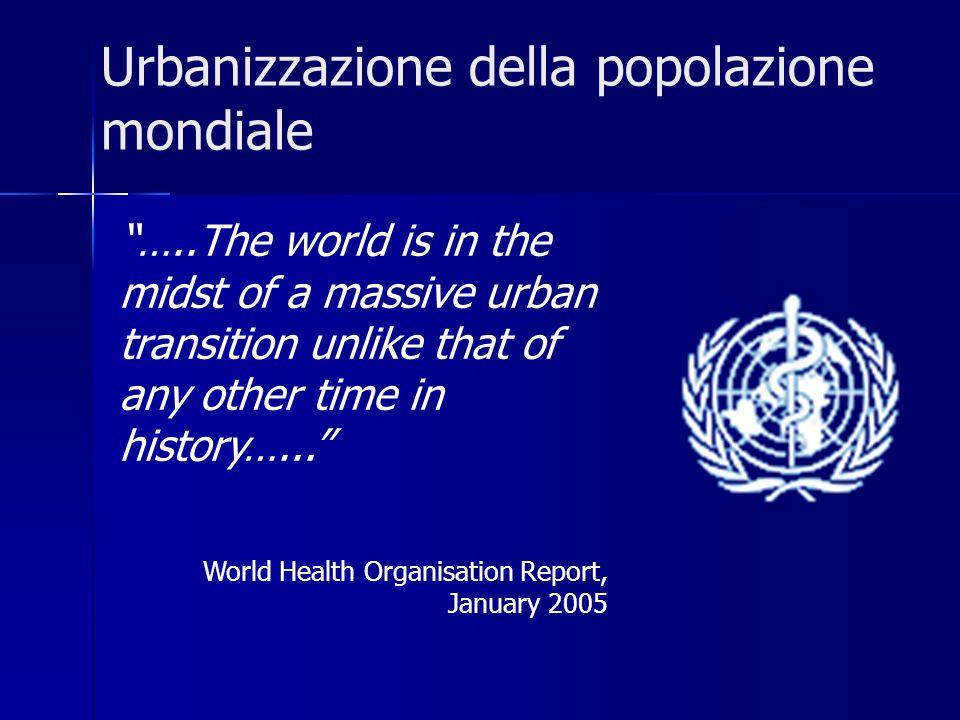 Urbanizzazione della popolazione mondiale …..The world is in the midst of a massive urban transition unlike that of any other time in history…... Worl