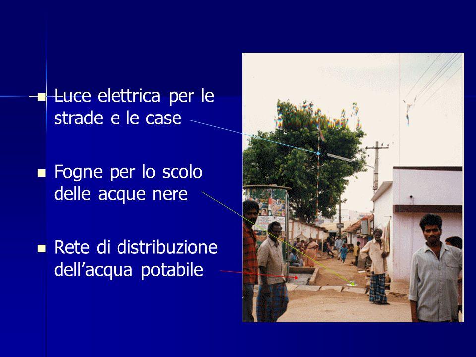 Luce elettrica per le strade e le case Fogne per lo scolo delle acque nere Rete di distribuzione dellacqua potabile