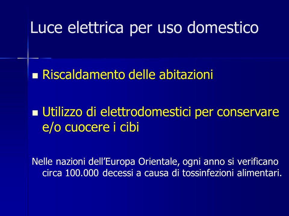 Luce elettrica per uso domestico Riscaldamento delle abitazioni Utilizzo di elettrodomestici per conservare e/o cuocere i cibi Nelle nazioni dellEuropa Orientale, ogni anno si verificano circa 100.000 decessi a causa di tossinfezioni alimentari.