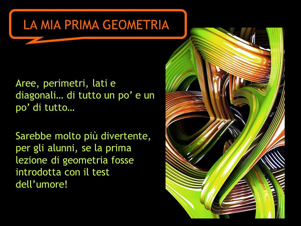 Aree, perimetri, lati e diagonali… di tutto un po e un po di tutto… Sarebbe molto più divertente, per gli alunni, se la prima lezione di geometria fosse introdotta con il test dellumore.