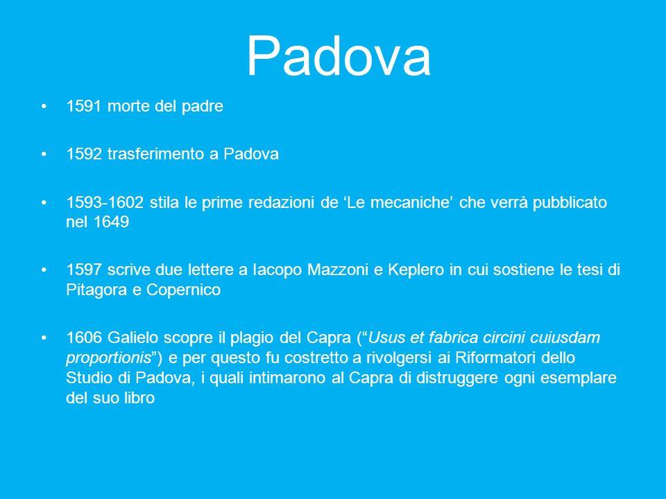 Padova 1591 morte del padre 1592 trasferimento a Padova 1593-1602 stila le prime redazioni de Le mecaniche che verrà pubblicato nel 1649 1597 scrive d