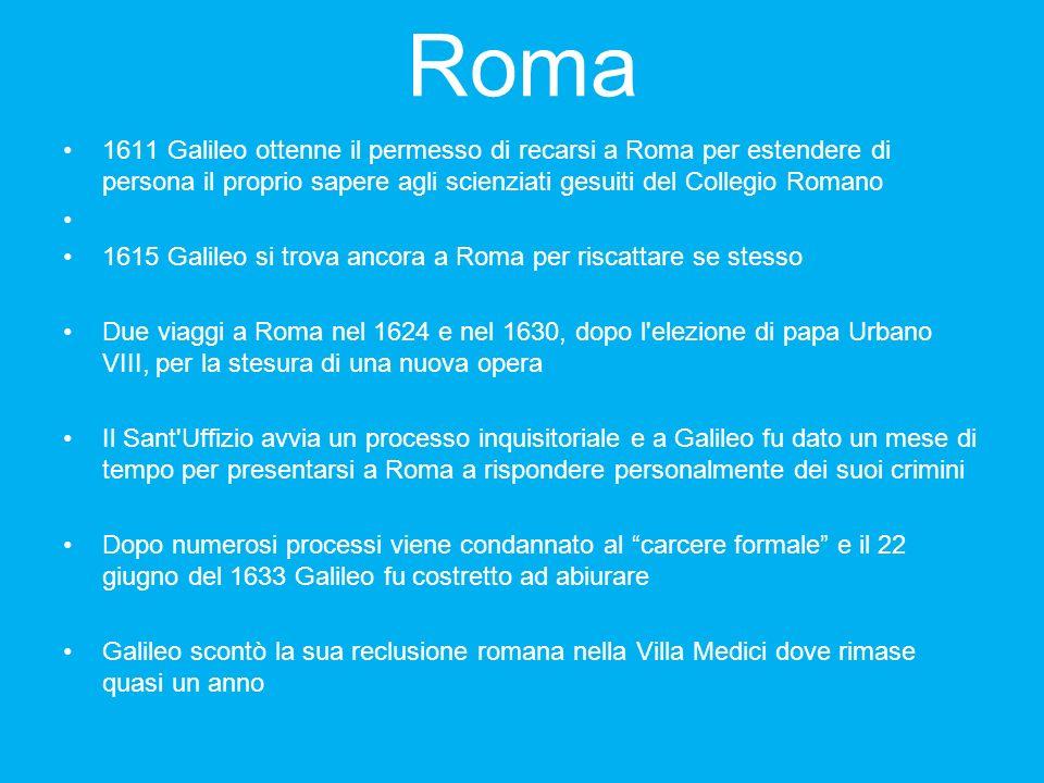 Roma 1611 Galileo ottenne il permesso di recarsi a Roma per estendere di persona il proprio sapere agli scienziati gesuiti del Collegio Romano 1615 Ga
