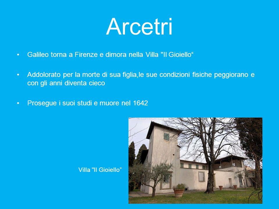 Arcetri Galileo torna a Firenze e dimora nella Villa