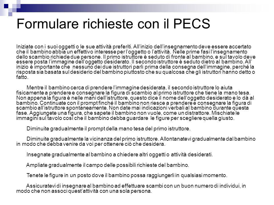 Formulare richieste con il PECS Iniziate con i suoi oggetti o le sue attività preferiti.
