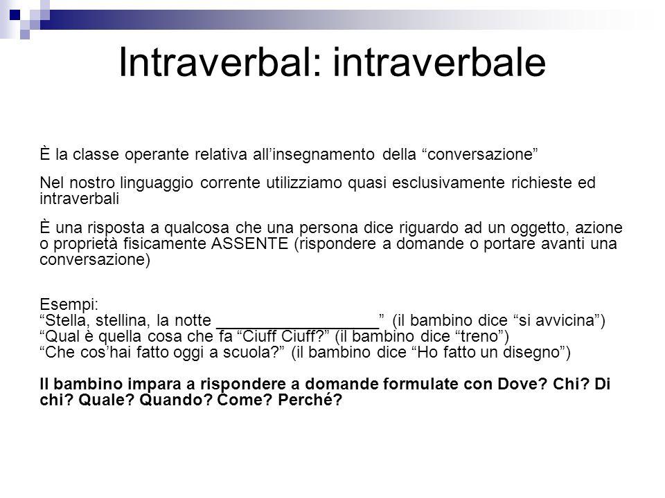 Intraverbal: intraverbale È la classe operante relativa allinsegnamento della conversazione Nel nostro linguaggio corrente utilizziamo quasi esclusiva