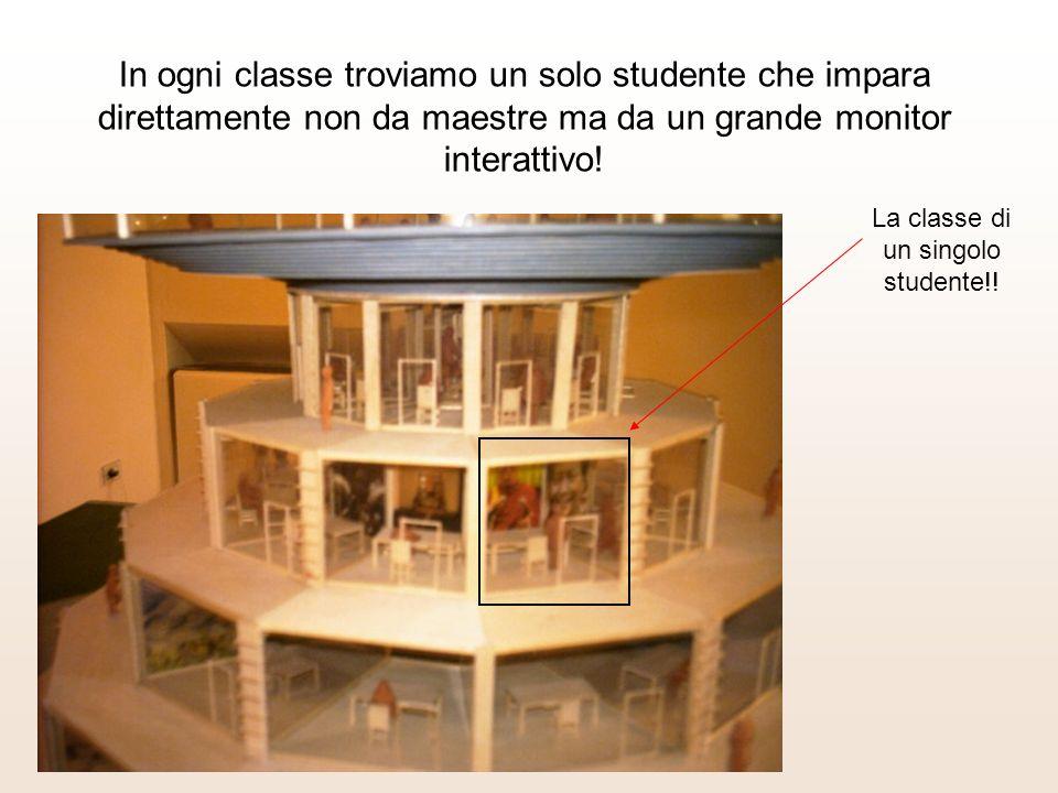 In ogni classe troviamo un solo studente che impara direttamente non da maestre ma da un grande monitor interattivo.