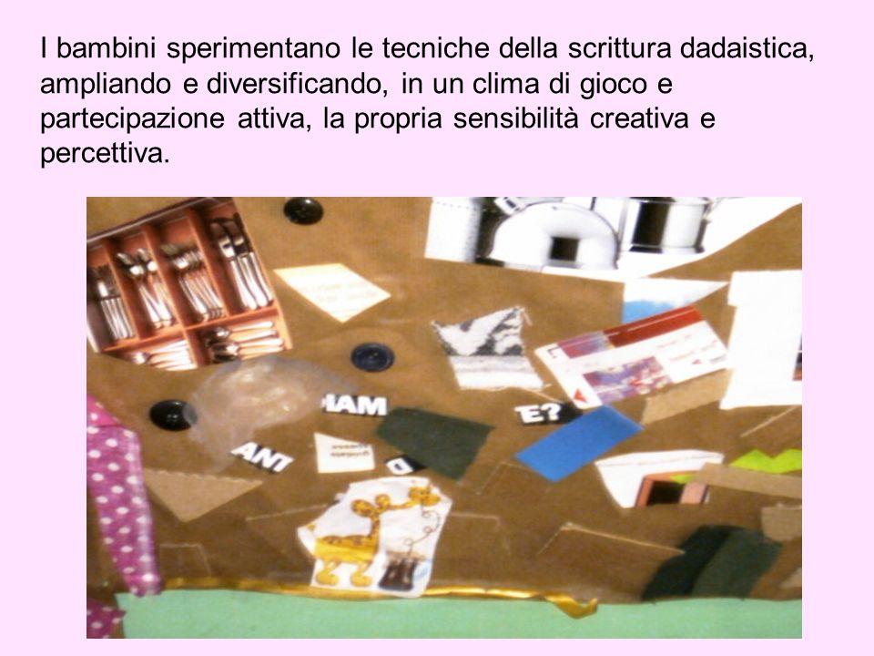 I bambini sperimentano le tecniche della scrittura dadaistica, ampliando e diversificando, in un clima di gioco e partecipazione attiva, la propria sensibilità creativa e percettiva.