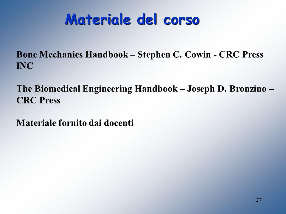 27 Materiale del corso Bone Mechanics Handbook – Stephen C. Cowin - CRC Press INC The Biomedical Engineering Handbook – Joseph D. Bronzino – CRC Press
