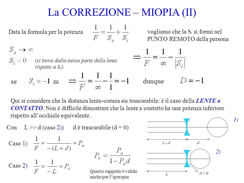 Data la formula per la potenza La CORREZIONE – MIOPIA (II) vogliamo che la S i si formi nel PUNTO REMOTO della persona (si trova dalla stessa parte de