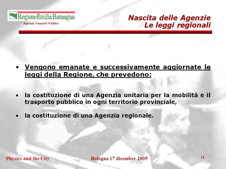 Agenzia Trasporti Pubblici Bologna 17 dicembre 2005Physics and the City 11 Vengono emanate e successivamente aggiornate le leggi della Regione, che prevedono: la costituzione di una Agenzia unitaria per la mobilità e il trasporto pubblico in ogni territorio provinciale, la costituzione di una Agenzia regionale.