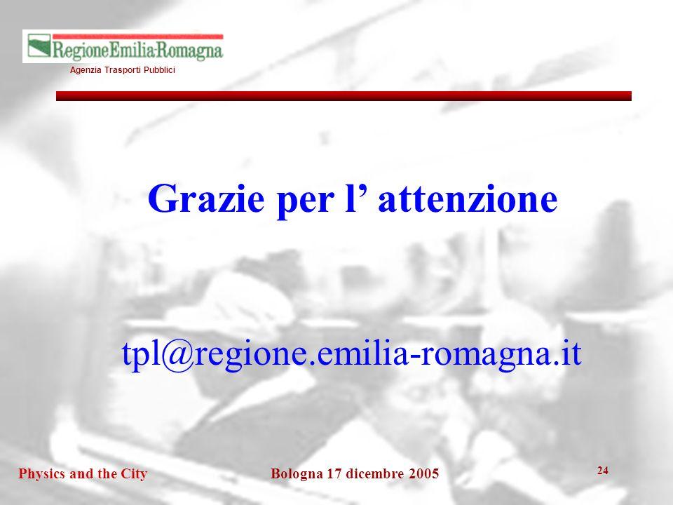 Agenzia Trasporti Pubblici Bologna 17 dicembre 2005Physics and the City 24 Grazie per l attenzione tpl@regione.emilia-romagna.it