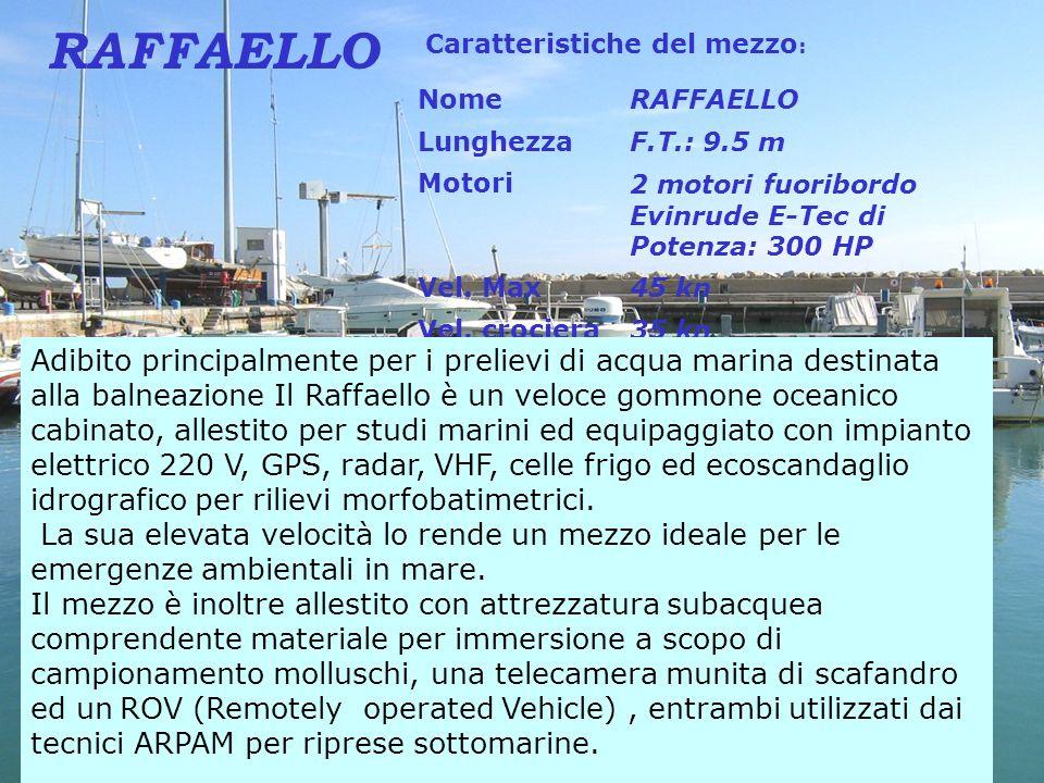 Caratteristiche del mezzo : NomeRAFFAELLO LunghezzaF.T.: 9.5 m Motori2 motori fuoribordo Evinrude E-Tec di Potenza: 300 HP Vel. Max45 kn Vel. crociera