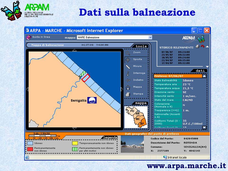 Dati sulla balneazione www.arpa.marche.it