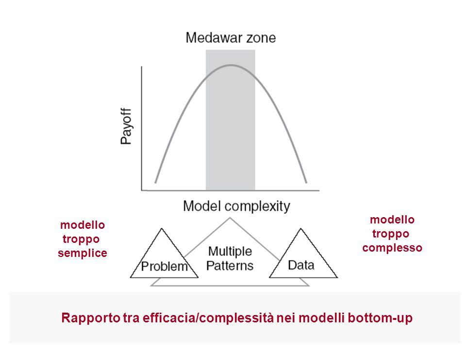 modello troppo semplice modello troppo complesso Rapporto tra efficacia/complessità nei modelli bottom-up