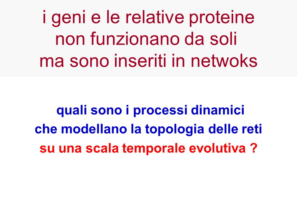 quali sono i processi dinamici che modellano la topologia delle reti su una scala temporale evolutiva ? i geni e le relative proteine non funzionano d