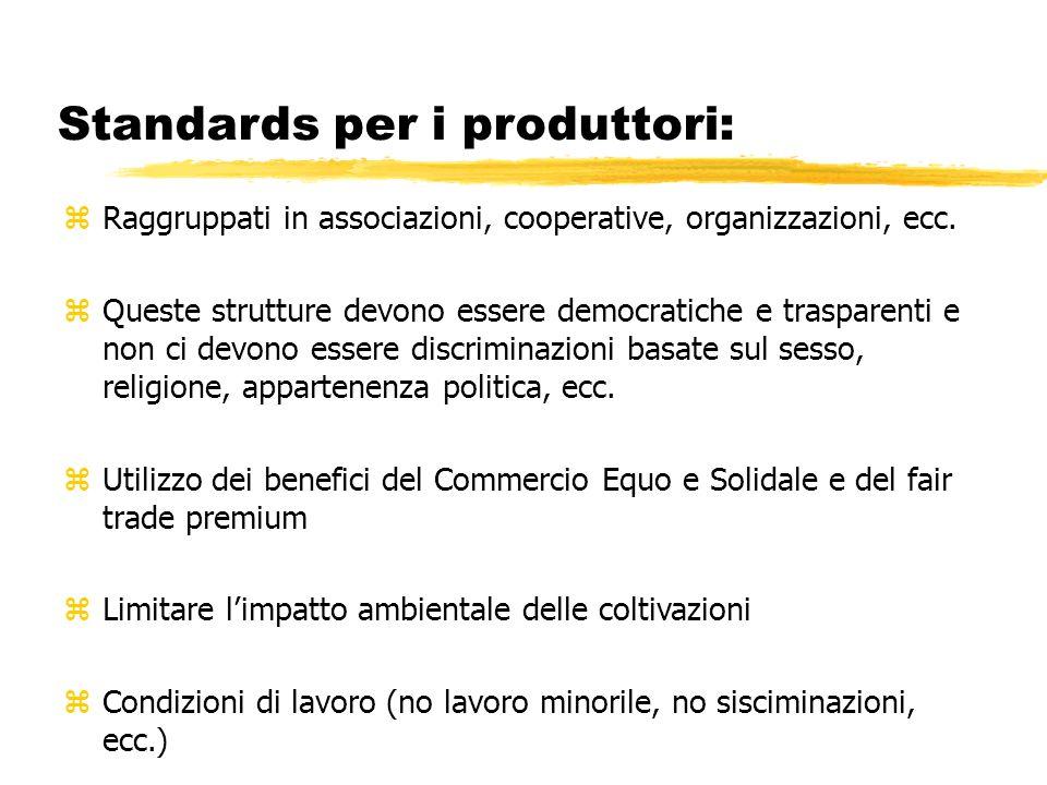 Standards per i produttori: zRaggruppati in associazioni, cooperative, organizzazioni, ecc. zQueste strutture devono essere democratiche e trasparenti