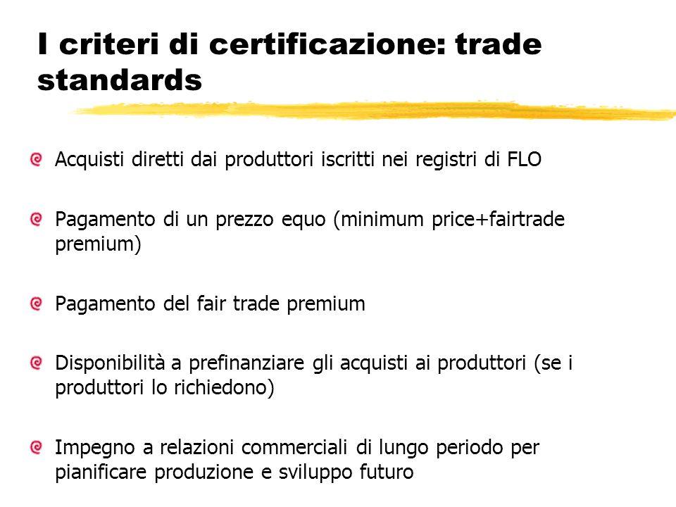 I criteri di certificazione: trade standards Acquisti diretti dai produttori iscritti nei registri di FLO Pagamento di un prezzo equo (minimum price+f