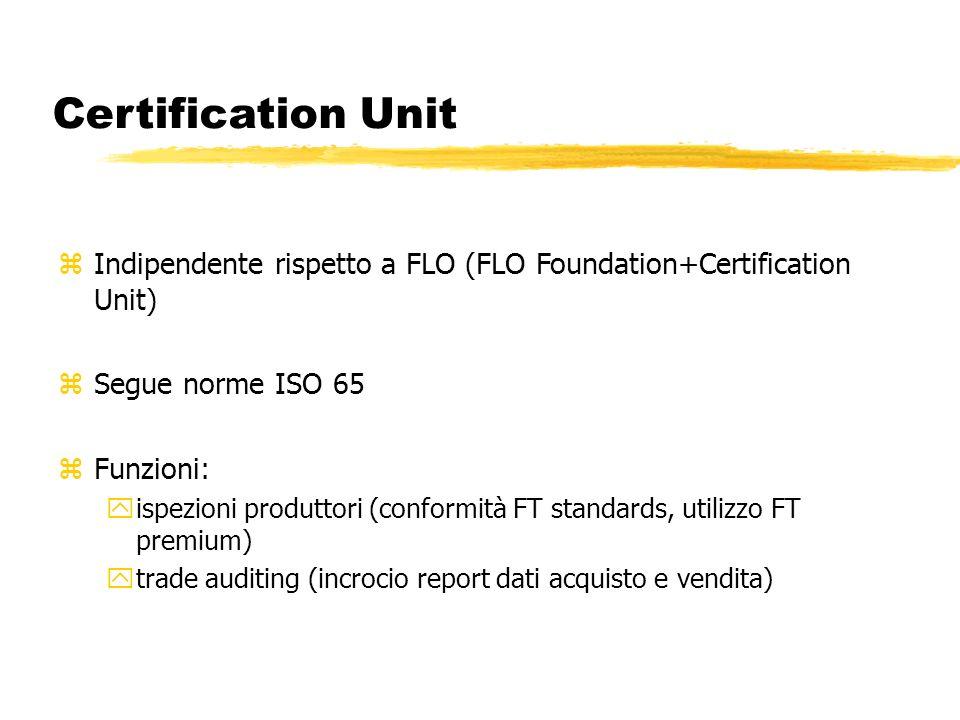 Certification Unit zIndipendente rispetto a FLO (FLO Foundation+Certification Unit) zSegue norme ISO 65 zFunzioni: yispezioni produttori (conformità F