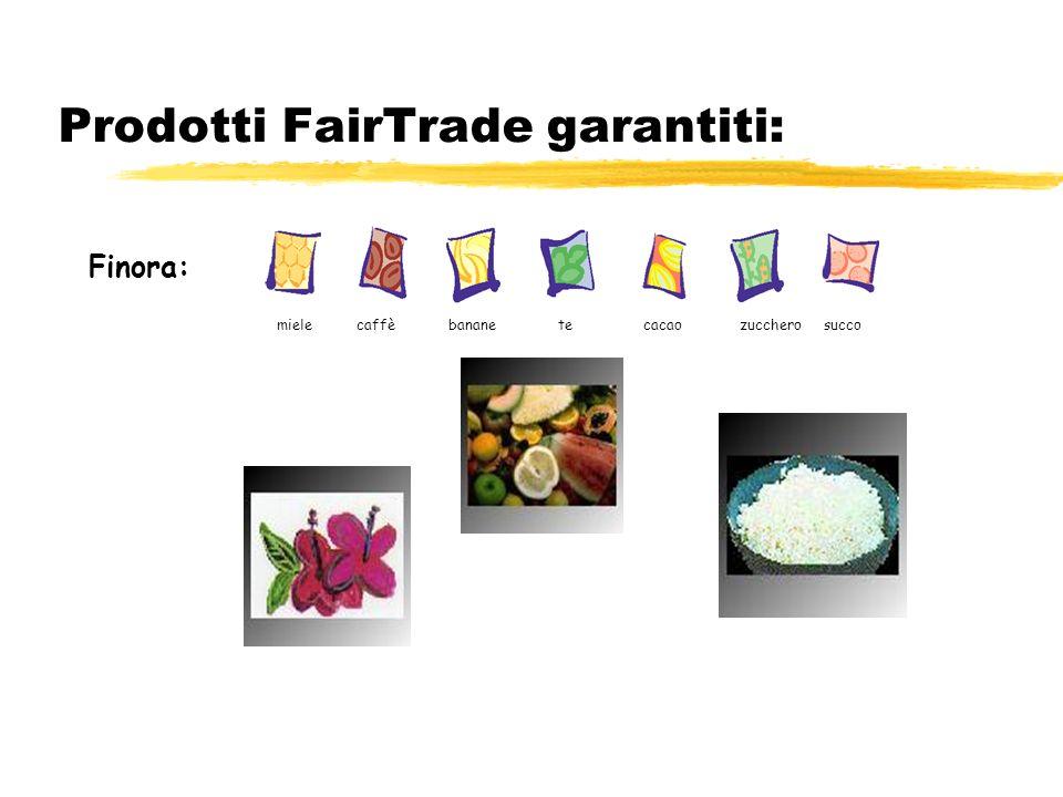 Prodotti FairTrade garantiti: Finora: miele caffè banane te cacao zucchero succo