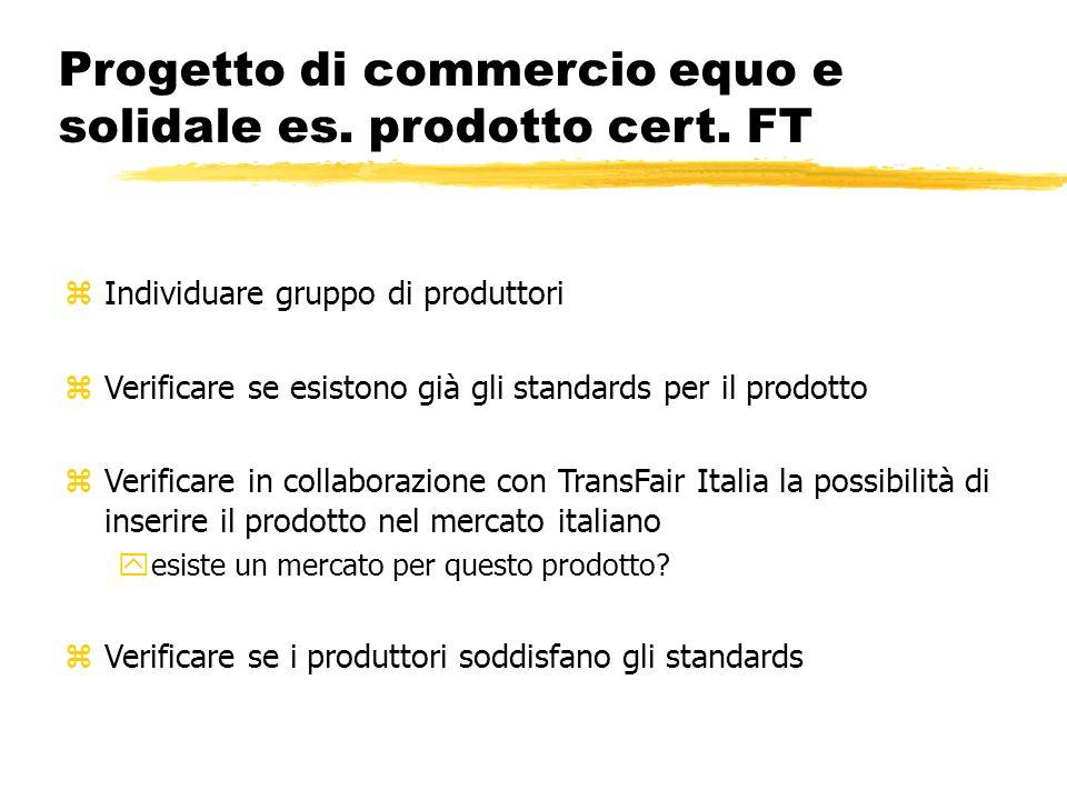Progetto di commercio equo e solidale es. prodotto cert. FT zIndividuare gruppo di produttori zVerificare se esistono già gli standards per il prodott