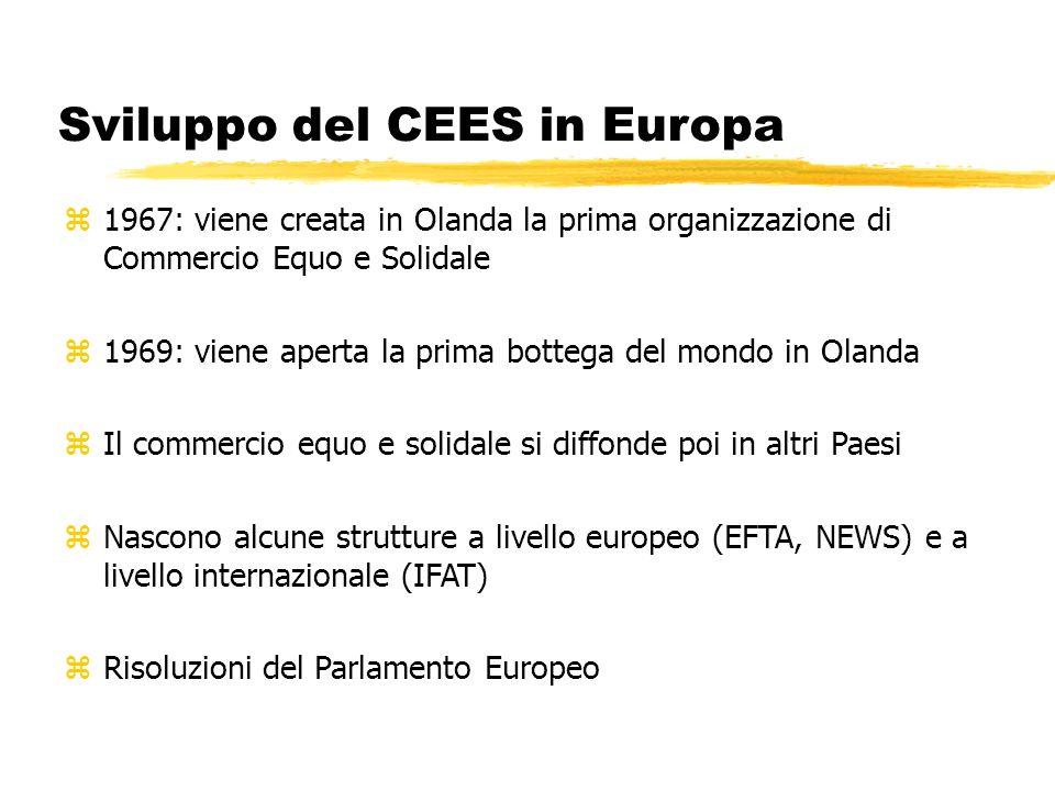 Sviluppo del CEES in Europa z1967: viene creata in Olanda la prima organizzazione di Commercio Equo e Solidale z1969: viene aperta la prima bottega de