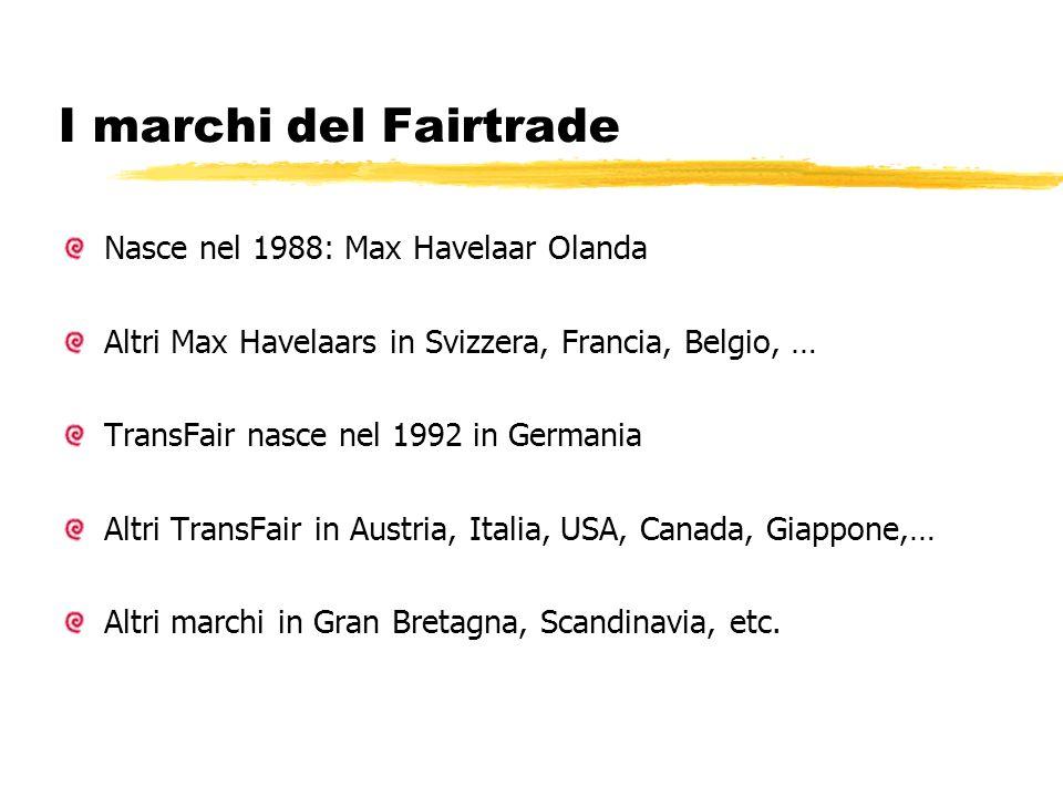 I marchi del Fairtrade Nasce nel 1988: Max Havelaar Olanda Altri Max Havelaars in Svizzera, Francia, Belgio, … TransFair nasce nel 1992 in Germania Al