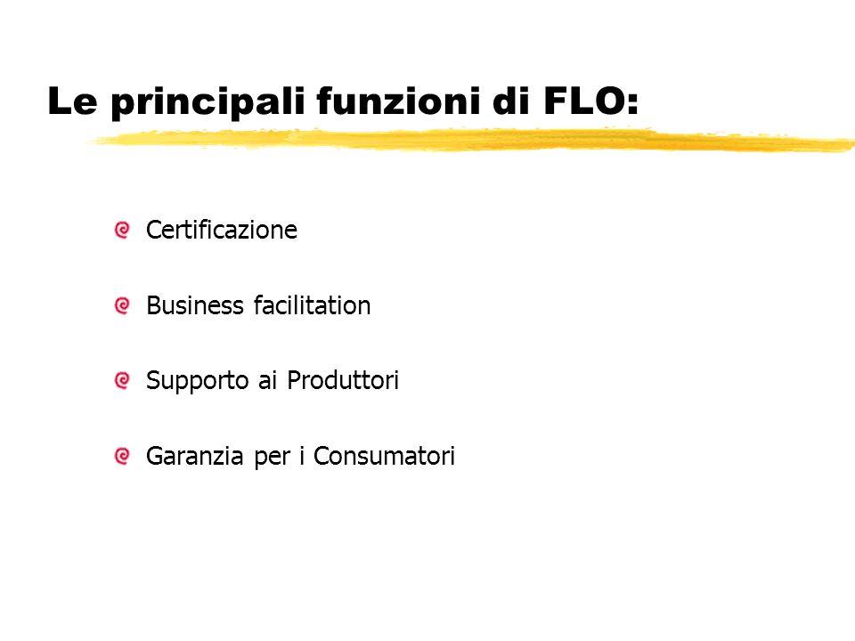 Le principali funzioni di FLO: Certificazione Business facilitation Supporto ai Produttori Garanzia per i Consumatori