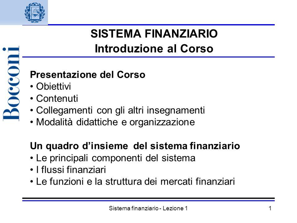 Sistema finanziario - Lezione 11 SISTEMA FINANZIARIO Introduzione al Corso Presentazione del Corso Obiettivi Contenuti Collegamenti con gli altri inse