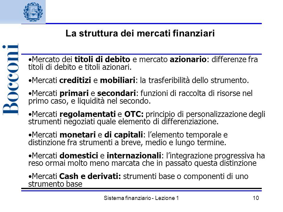 Sistema finanziario - Lezione 110 Mercato dei titoli di debito e mercato azionario: differenze fra titoli di debito e titoli azionari. Mercati crediti