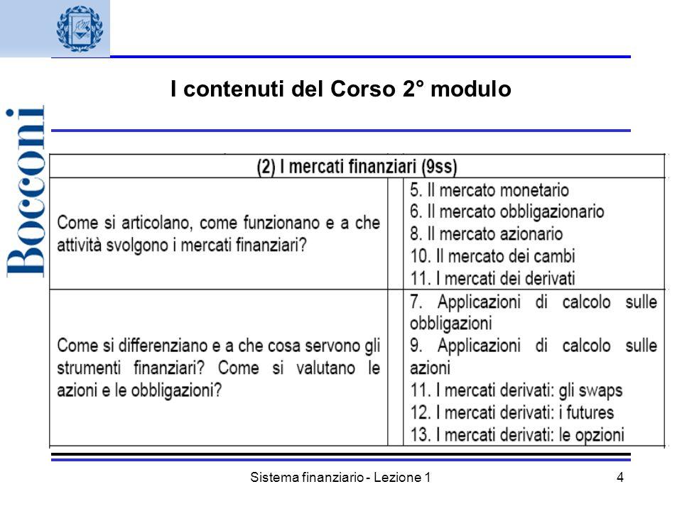 Sistema finanziario - Lezione 15 I contenuti del corso: 3° modulo