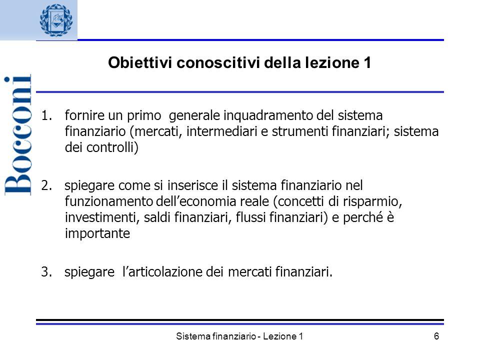 Sistema finanziario - Lezione 16 Obiettivi conoscitivi della lezione 1 1.fornire un primo generale inquadramento del sistema finanziario (mercati, int