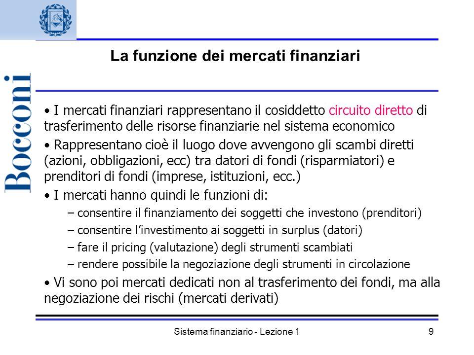 Sistema finanziario - Lezione 19 I mercati finanziari rappresentano il cosiddetto circuito diretto di trasferimento delle risorse finanziarie nel sist