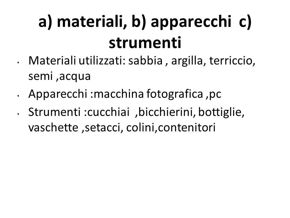 a) materiali, b) apparecchi c) strumenti Materiali utilizzati: sabbia, argilla, terriccio, semi,acqua Apparecchi :macchina fotografica,pc Strumenti :c