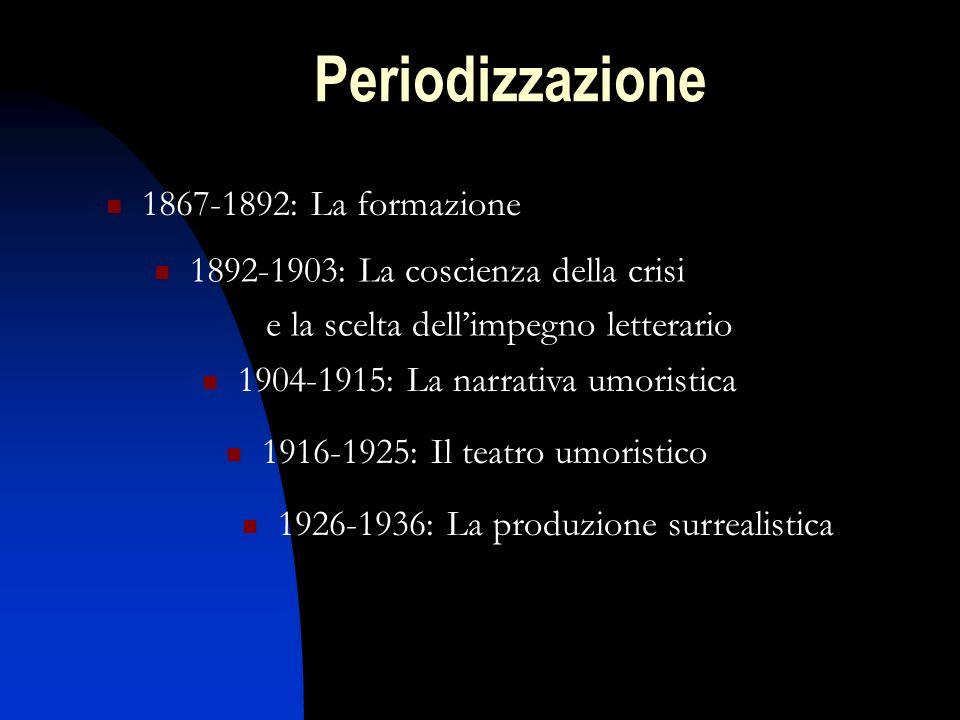 Periodizzazione 1867-1892: La formazione 1892-1903: La coscienza della crisi e la scelta dellimpegno letterario 1904-1915: La narrativa umoristica 191