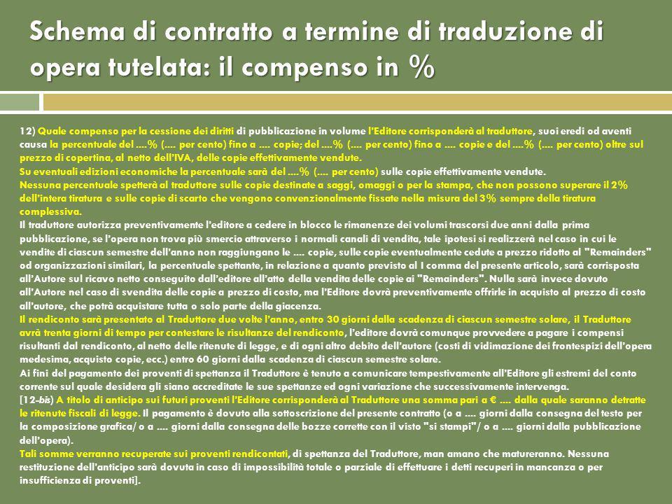 12) Quale compenso per la cessione dei diritti di pubblicazione in volume lEditore corrisponderà al traduttore, suoi eredi od aventi causa la percentuale del....% (....