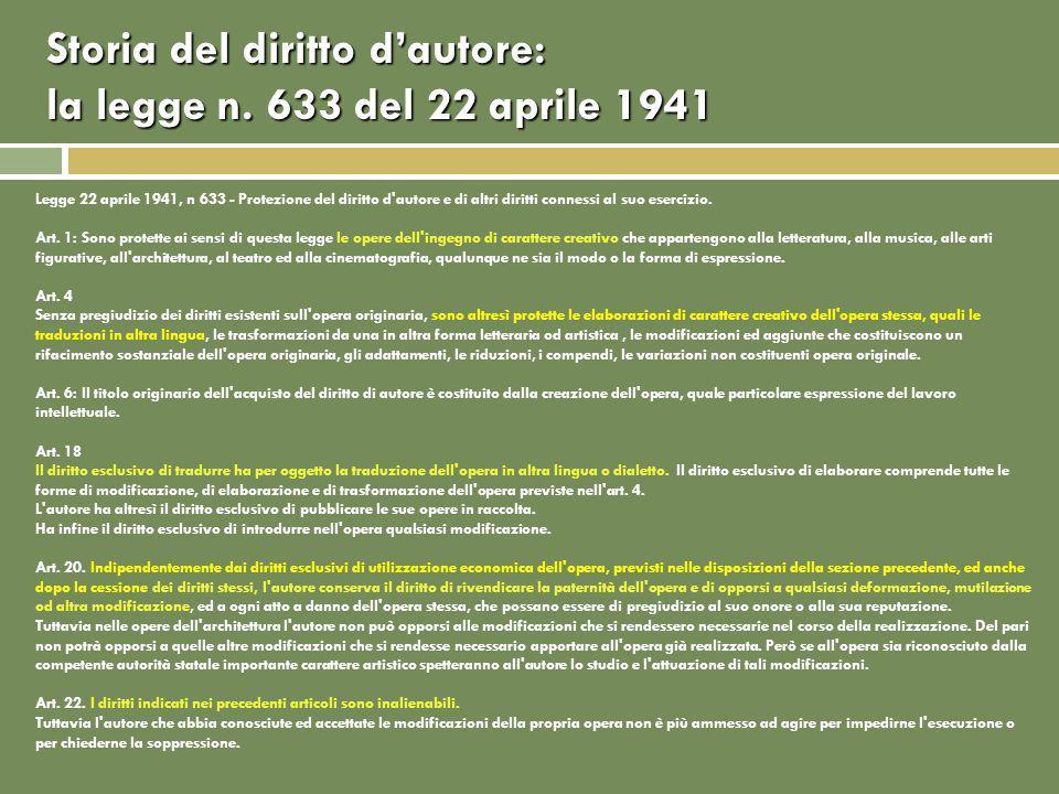 Storia del diritto dautore: la legge n.